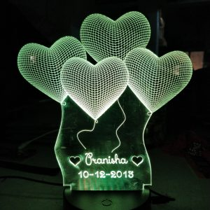 Buy Best Personalized Acrylic 3D illusion Lamp Heart OK3DL001